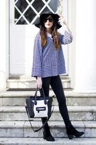 black new look boots - black Topshop hat - dark gray vintage blazer