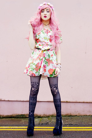 bubble gum neon floral Poppy Lux dress