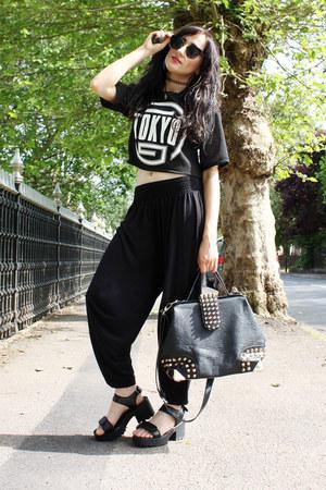 black OASAP bag - black tokyo top H&M top - black harem pants H&M pants