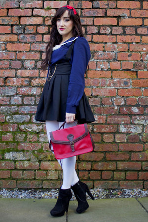 red Claires hair accessory - black Miss Selfridge boots - ruby red vintage bag