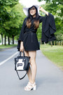 Black-oasap-dress-white-laredoute-hat-black-monochrome-bag-oasap-bag