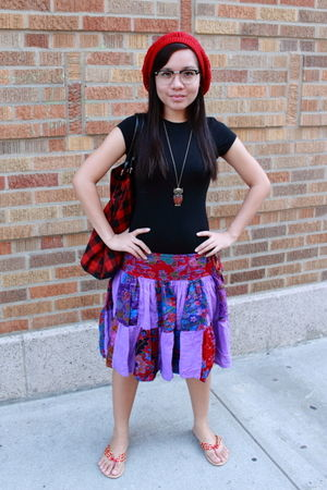 red Forever 21 hat - black shirt - purple skirt - red shoes - glasses -