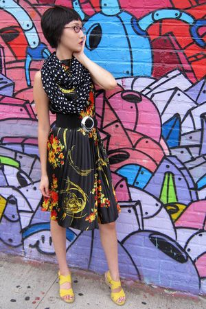 black dress - black The Limited scarf - yellow Bandolino shoes - black belt