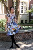 blue vintage dress - pink H&M blouse - black We Love Colors tights - black shoes
