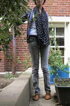 white Aeropostale shirt - blue Fever cardigan - black The Limited scarf - gray j