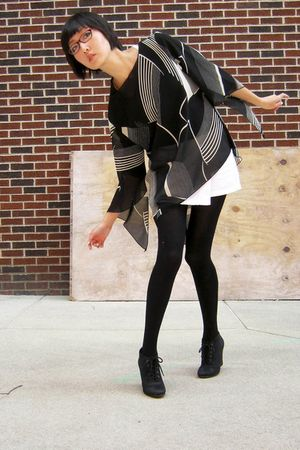 black top - white skirt - black We Love Colors tights - black Kelsi Dagger shoes