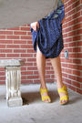Blue-moms-top-blue-moms-skirt-black-goodwill-belt-yellow-bandolino-shoes