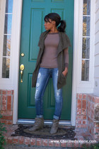 light brown Forever 21 shirt - brown Forever 21 vest - blue Vigoss jeans - beige