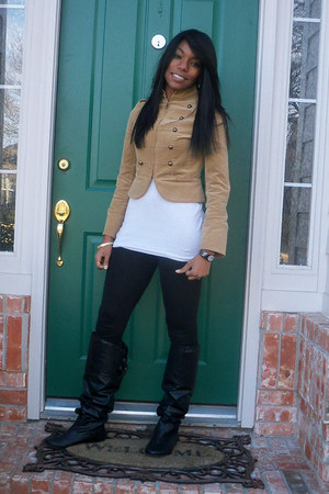 tan Guess jacket - black Charlotte Russe boots - black Macys watch