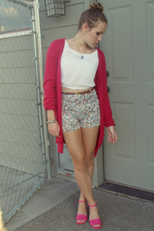 long cardigan Frenchi cardigan - liz claiborne shorts - crop top Bebe top