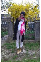 gold Catarina Martins boots - black next coat - ivory Tu pants