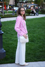 Hot-pink-marks-spencer-shirt-ivory-unknown-brand-bag