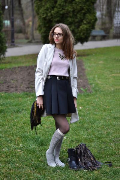 off white Sara Kelly by Ellos coat - dark brown Zara bag