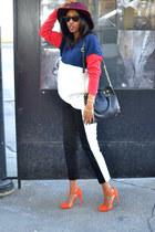 fedora H&M hat - colorblock BikBok sweater - sidestripe H&M pants