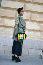 black Bik Bok shirt - olive green Zara coat - Zara bag - black Bik Bok sneakers
