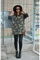 vintage sweater - Nelly shoes - fedora H&M hat - vintage bag