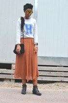 black BikBok boots - silver H&M sweater - bronze Forever 21 skirt