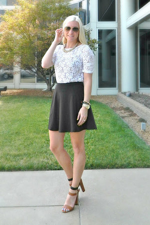Michael Kors watch - The Limited shirt - Ray Ban sunglasses - Forever 21 skirt