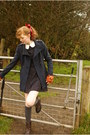 Brown-clarks-boots-navy-primark-dress-navy-new-look-coat