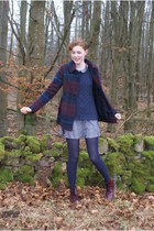 black George top - ruby red Primark boots - brick red modcloth coat