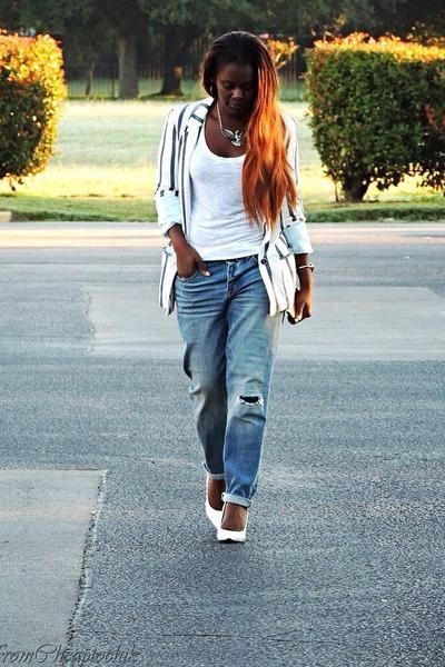 American Eagle jeans - ivory Zara blazer - pink calvin klein t-shirt