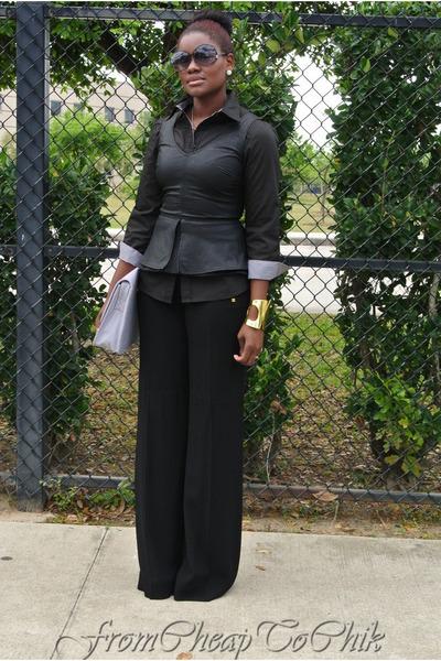 black Zara top - black Zara shirt - periwinkle JustFab bag