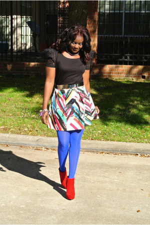 red Charlotte Rosse boots - blue Nine West tights - black Zara blouse