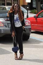 black Zara blazer - navy Chanel bag - bag - navy Forever 21 top