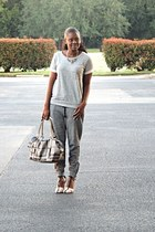 silver Forever 21 sweater - silver Burberry bag - silver American Eagle pants