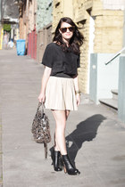 vintage boots - Rebecca Minkoff purse - Karen Walker sunglasses - Theory blouse