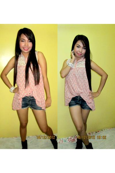 cotton SM blouse - khaki black unknown brand boots - jean shorts SM shorts