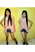 cotton SM blouse - khaki black unknown brand boots - jean shorts SM shorts