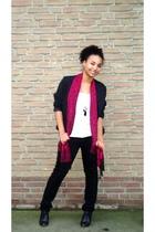 black blazer - pink scarf - black H&M pants - black shoes - silver necklace
