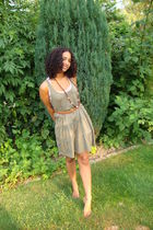 green H&M dress - brown H&M belt - brown necklace - beige top