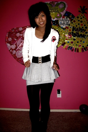 beige Forever 21 sweater - white Wet Seal top - gray Forever 21 skirt - black Fo