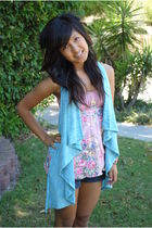 blue Wet Seal cardigan - pink Wet Seal top - beige Wet Seal shoes - blue Guess s