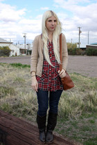 tawny vintage Coach bag - dark brown Blowfish Shoes boots - navy Levis jeans