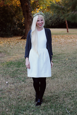 black suede sam edelman boots - white cotton madewell dress