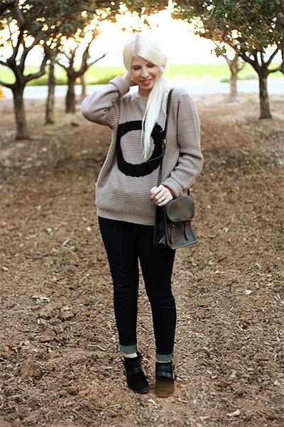 light brown Forever 21 sweater - black sam edelman boots - blue Gap jeans