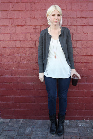 blue Levis jeans - black Steve Madden boots - gray banana republic cardigan