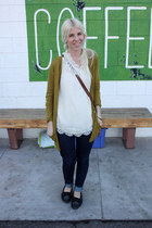 threadcase blouse - Levis jeans - Rubbish cardigan - minnetonkas flats