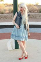 red kate spade bracelet - blue denim Levis dress