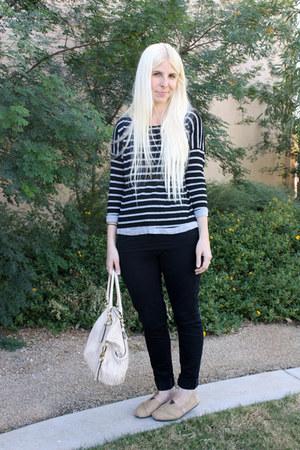 black Levis jeans - black TJ Maxx shirt - eggshell coach purse