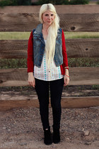 black Blowfish boots - black Levis jeans - white Eddie Bauer blouse