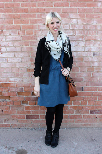 black Blowfish Shoes boots - blue Madwell dress - black We Love Colors tights