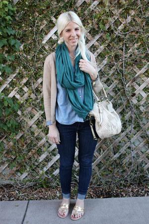bronze jack rogers sandals - blue Levis jeans - light blue Levis shirt