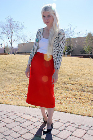 white Jcrew cardigan - white Frenchi t-shirt - red vintage skirt - black ruby an