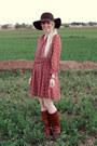 Dark-brown-leather-steve-madden-boots-crimson-threadsence-dress