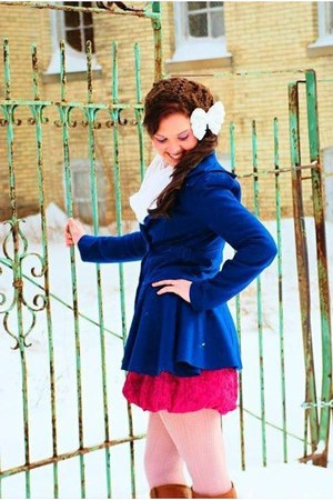 pink martini jacket - Charlotte Russe boots - Betsey Johnson dress