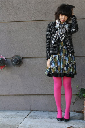 blue dress - charcoal gray Zara sweater - hot pink colored free people tights